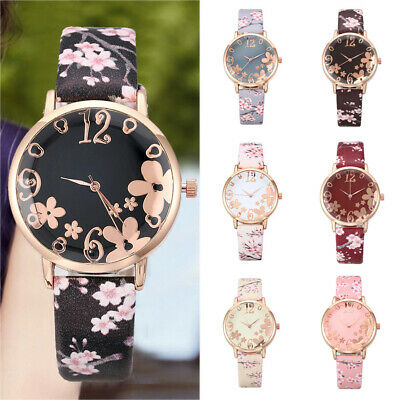 Fashion Womens Embossed Flowers Printed Leather Band Quartz Watch Wrist Watches