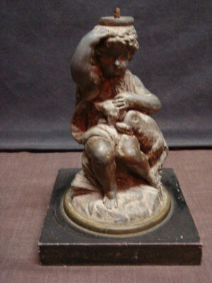 Boy w/Dog Oil Lamp Lamp Base - Restoration