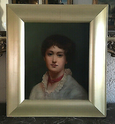 Antique Early 19th C. Oil Painting Portrait of a French Woman O/C European Art