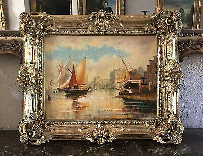 Antique Style Maritime Architectural Oil Painting Venice Harbor Signed Framed