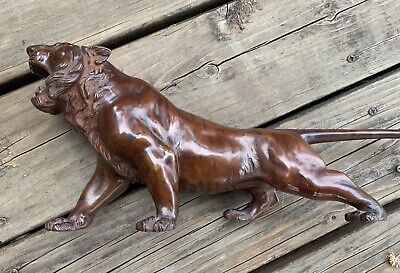 Antique Japanese Tiger Bronze 17""