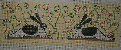Handpainted Needlepoint Canvas   Rabbits  Bunnies   Hp Np