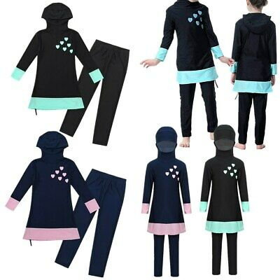 Kids Girls Arab Modest Burkini Swimwear Swimsuit Full Cover Swimming Costume