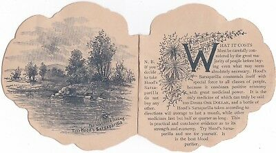 "ANTIQUE 1800s ""HOODS TRADE CARD SARSAPARILLA PURIFIES THE BLOOD"" PANSY BOOKLET"