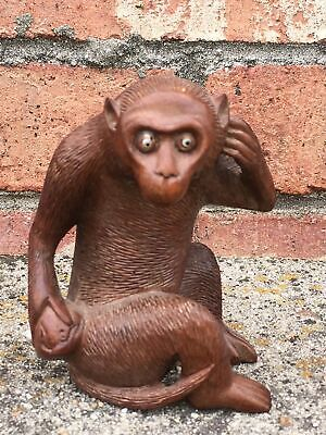 Antique Japanese Hand Carved Wood Monkey Eyes Okimono Sculpture Figurine 1 of 2