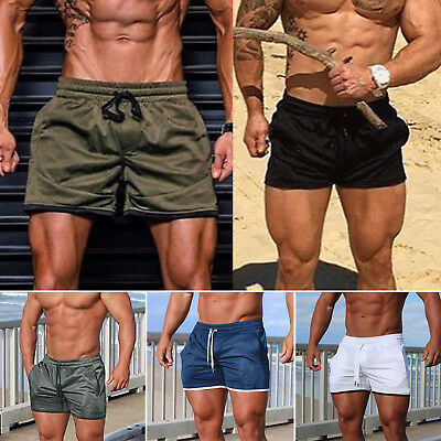 Mens Solid Jogging Beach Swim Board Sport Shorts Trunks Training Summer Pants AU