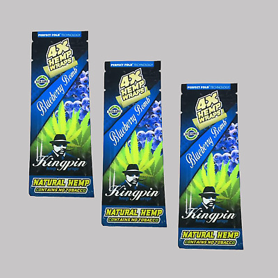 "Kingpin 3Pack ""Blueberry Bomb"" Hemp Wraps / Flavour Blunt Rolling Paper Smoking"