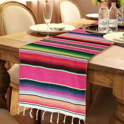 Mexican Striped Tablecloth Tassel Cotton Blanket Tablecloth Fiesta Party Supply
