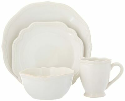 Lenox 4 Piece French Perle Bead Dinner Set, Place Setting White
