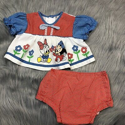 Vintage Disney Babies Minnie Mouse Daisy Red White Blue Outfit Set Americana