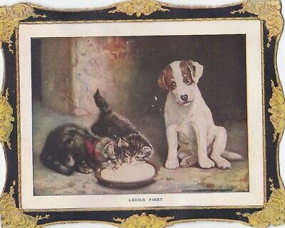 "Antique 1800s Trade Card Puppy and 2 Small Kittens ""LADIES FIRST"""