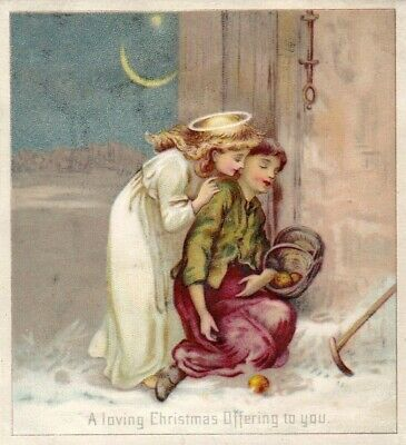 ANTIQUE 1800s HOLIDAY XMAS GREETING CARD LOVING ANGEL AND LOST WOMEN.*