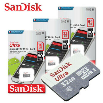 SanDisk Ultra 16GB 32GB 64GB 128GB micro SD HC Flash Memory Card 80MB Class 10