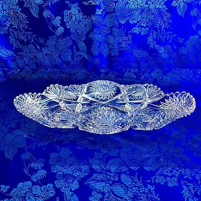 "Antique American Brilliant Sawtooth Cut Crystal 13.5"" Long Oval Glass Bowl Dish"