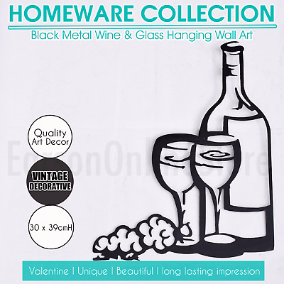 Black Metal Hanging Wall Art Decoration Wine Cup Bottle Silhouette Home Gift NEW