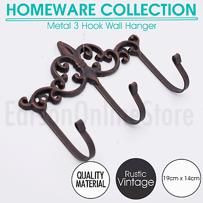Bronze Rustic Vintage Metal 3 Hook Wall Hanger Cast Iron Mount Clothes Scarf NEW