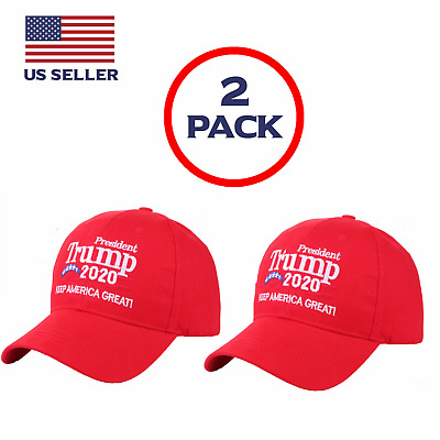 2 PACK Trump Cap Keep America Great MAGA hat President 2020 KAG2020 Red