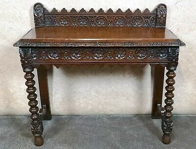 Victorian Carved Oak Hall Table