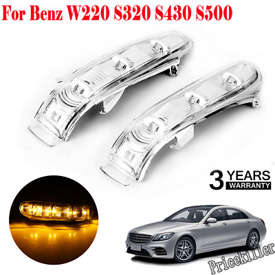 LED BLACK Side Mirror Covers for Mercedes W220 Facelift S350 S430 S500 S600 S55