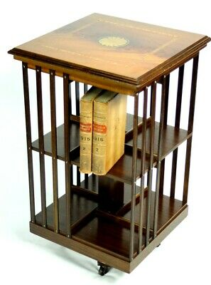 Antique Mahogany Inlaid Revolving Bookcase - FREE Shipping [5337]