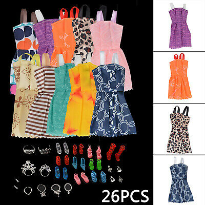 26Pcs For Barbie Doll Dresses, Shoes,Jewellery Clothes Set Accessories Uk Seller