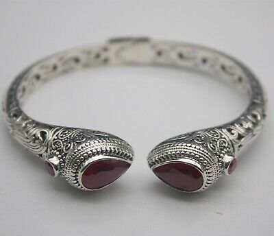 Retro Real S925 Silver Bangle Red Crystal Chinese Pattern 58mm Open Braccelet