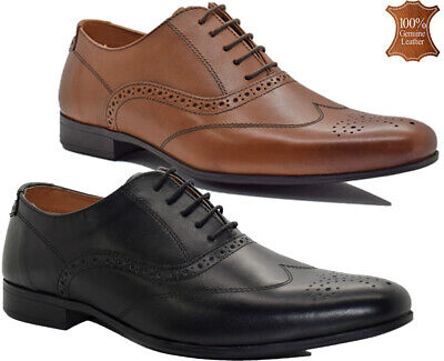 Mens Leather Lace Up Oxford Brogues Formal Smart Casual Office Dress Shoes Sizes