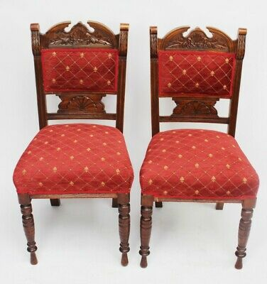 Pair of Vintage Carved Beech Dining Chairs - FREE Shipping [5339 A]