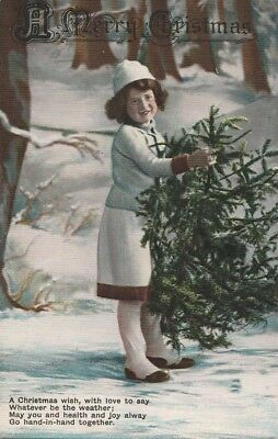 ANTIQUE VINTAGE HAND TINTED POSTCARD Christmas Greetings Card c.1910