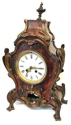 Antique Louis XV Style Boulle Ormolu Shel Veneered Mantel Bracket Clock