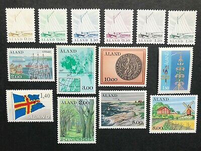 Stamps Finland Aaland 1984-1985 Selection 14 stamps. Mint never hinged