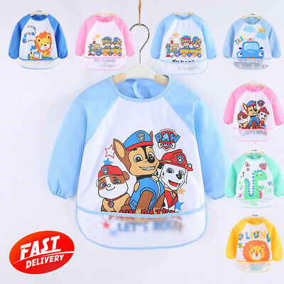 Cartoon Long Sleeve Baby Kids Bibs Bib Apron Waterproof Feeding Smock Toddler AU