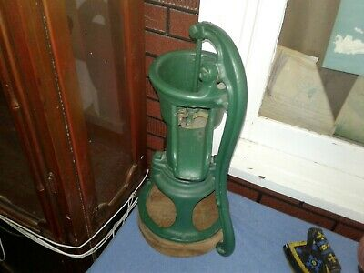 Antique Water Well Pump Cast Iron, Green Paint