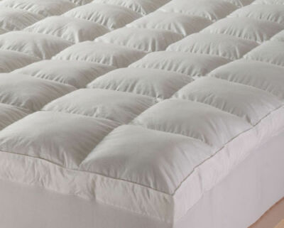 """Duck Feather & Down Mattress Topper High Quality Pillow All Sizes 2"""" Thickness"""