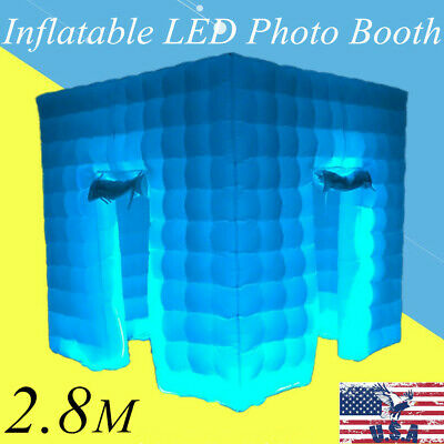 Inflatable LED Air Pump Photo Booth Tent 2 Doors Portable Remote Control 2.8M US