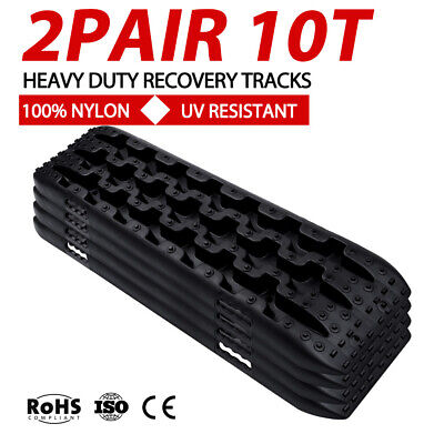 2Pair Black 10T Recovery Tracks Off Road 4x4 4WD Car Snow Mud Sand Trax 10Ton