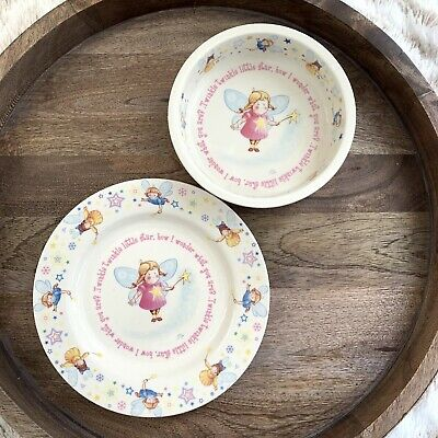 Anderton Pottery England Girl Childrens Plate Bowl Set Twinkle Little Star Fairy