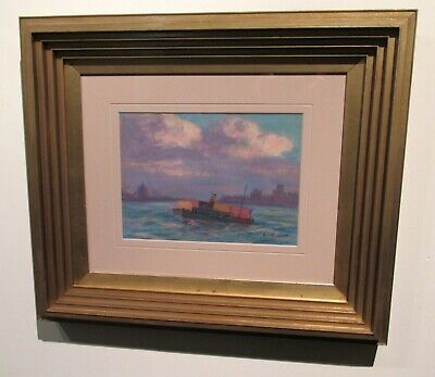 Antique American Pastel Painting Edwin S. Clymer Tugboat 1920's Art Deco Frame!