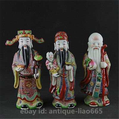 Chinese Ceramics Famille Rose Pottery 3 Longevity God Fu Lu Shou Life Statue 福禄寿