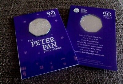 J M Barrie Peter Pan 50P Coin 2019 Bu Sealed Pack 90Th Anniversary Ormond Street