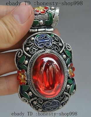old chinese tibet silver Cloisonne Enamel Inlay red Gem flower pendant