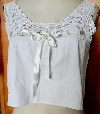 Antique Victorian True Vintage Hand Worked Crochetted  White Camisole Top
