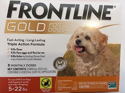 NO MORE FLEAS! Merial  Frontline Gold 3 Pack For Dogs Under 22 lb