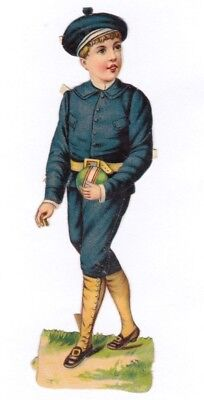 "ANTIQUE 1800s DIE CUT TRADE CARD "" POULAIN CHOCOLATE "" BOY IN BLUE.*"