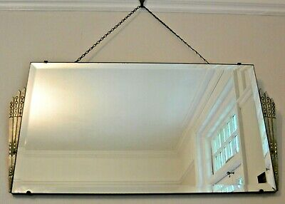 Stunning Rare Art Deco Bevelled Edge Mirror with Chrome Fan design sides -1920's