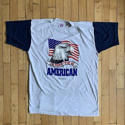 Vintage 90s Pround To Be An American Flag Eagle T Shirt Gray L Vtg Pride USA