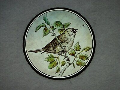 Beautiful Stained glass.BIRD.Hand painted.Kiln fired.Diameter-150mm.Antique.st.