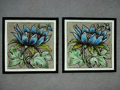 Beautiful Stained glass.FLOWERS.Hand painted.Kiln fired.120x120mm.Antiq.st.2 ps