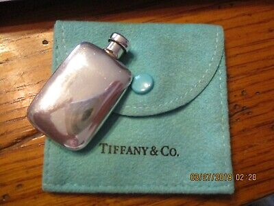 Lovely Tiffany Signed Sterling Silver Perfume+Lid Bottle/flask + Tiffany Pouch