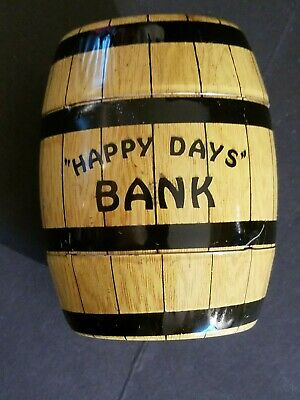 "Vintage Chein Tin Happy Days Barrel Bank 4"" Tall marked J. Chein"